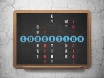 Concept d'éducation : éducation de mot dans la solution Images stock