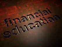 Concept d'éducation : Éducation financière sur le fond d'écran numérique Images stock