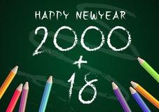 Concept 2018 d'éducation d'année de nouveau à l'école sur le fond de tableau noir Photo stock