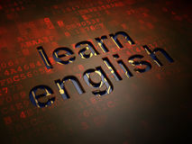 Concept d'éducation : Apprenez l'anglais sur le fond d'écran numérique Images stock