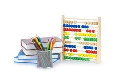 Concept d'éducation avec des crayons, livres Images stock