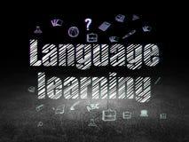 Concept d'éducation : Connaissance des langues dans le grunge Images libres de droits