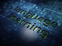 Concept d'éducation : Connaissance des langues sur le fond d'écran numérique Photos stock