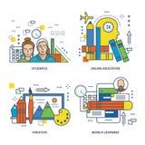 Concept d'éducation, créativité, en ligne, étudiants, étude mobile illustration libre de droits