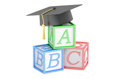 Concept d'éducation, cubes en ABC avec le chapeau d'obtention du diplôme rendu 3d Photographie stock