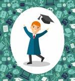 Concept d'éducation des étudiants dans la robe et la taloche d'obtention du diplôme Photographie stock libre de droits