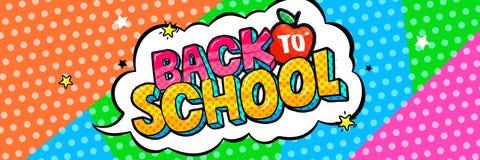 Concept d'éducation Fond d'école et bulle comique de la parole avec de nouveau au lettrage d'école illustration libre de droits