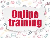 Concept d'éducation : Formation en ligne sur le papier déchiré Images stock