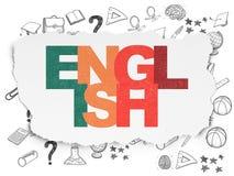Concept d'éducation : L'anglais sur le papier déchiré Photos libres de droits