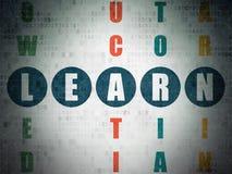 Concept d'éducation : le mot apprennent en résolvant des mots croisé Photographie stock libre de droits