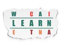 Concept d'éducation : le mot apprennent en résolvant des mots croisé Photo libre de droits