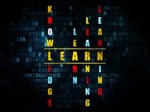 Concept d'éducation : le mot apprennent en résolvant des mots croisé Image stock