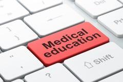 Concept d'éducation : Éducation médicale sur le fond de clavier d'ordinateur Images stock