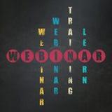 Concept d'éducation : mot Webinar dans la solution Images stock