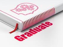 Concept d'éducation : réservez le chef avec des vitesses, diplômée sur le fond blanc Photos stock