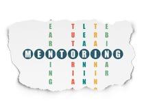 Concept d'éducation : tutelle de mot dans la solution Image stock