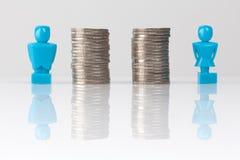 Concept d'égalité de salaires montré avec des figurines et des pièces de monnaie Image stock