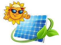 Concept d'énergie de Sun avec le caractère du soleil de bande dessinée Photos stock