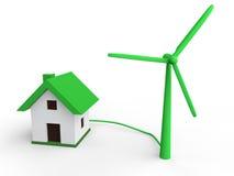 concept d'énergie de vert de turbine de vent 3d Photo libre de droits