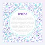 Concept d'épilepsie avec la ligne mince icônes illustration stock