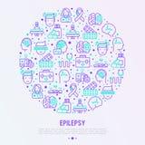 Concept d'épilepsie en cercle avec la ligne mince icônes illustration libre de droits