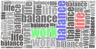 Concept d'équilibre de la vie de travail Illustration de nuage de Word Photographie stock