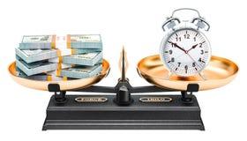 Concept d'équilibre, réveil et paquets du dollar rendu 3d Photos libres de droits