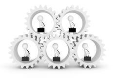 Concept d'équipe d'affaires 3d Businesmans dans Clogwheels renderin 3D Photographie stock