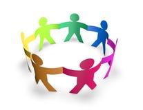 Concept d'équipe, d'unité et de multiplicité avec les personnes 3d colorées en anneau d'isolement sur le petit morceau Photo stock