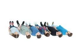 Concept d'équipe - l'équipe de fac se tient dans une rangée avec leurs dos Image libre de droits