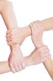 Concept d'équipe utilisant les mains jointives photo stock