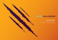 Concept d'événement de Halloween avec des marques d'éraflure sur le jaune Images libres de droits