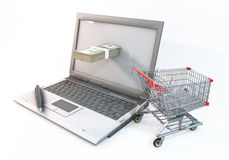 Concept 3d abstract Shopping cart with 100 dollar bill in Comput. 3D Graphic computer and 100 dollar bills protrude with near shopping cart. Rendered at high Royalty Free Stock Image