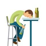 Concept d'abus d'alcool Le type a bu trop illustration libre de droits