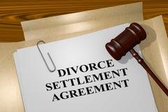 Concept d'accord de règlement de divorce Photographie stock
