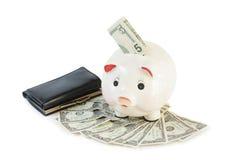 Concept d'accumulation d'argent Argent et tirelire Image stock