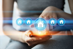 Concept d'achat de loyer d'hypothèque immobilière de gestion de propriété Images libres de droits