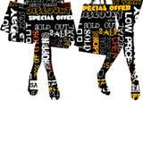 Concept d'achats avec les silhouettes écrites avec le messag commercial Photos libres de droits