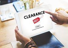 Concept d'achats du consommateur de remise de promotion de dégagement images stock