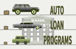 Concept d'acheter une voiture et des programmes de prêt automobile illustration libre de droits