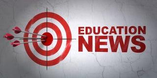 Concept d'actualités : actualités de cible et d'éducation sur le fond de mur Photographie stock libre de droits