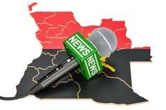 Concept d'actualités de l'Angola, actualités de microphone sur la carte rendu 3d Illustration de Vecteur