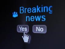 Concept d'actualités : Gens d'affaires d'icône et dernières nouvelles sur l'écran de calculateur numérique Photos stock