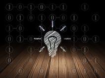 Concept d'affaires : Ampoule dans la chambre noire grunge Images libres de droits