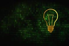 Concept d'affaires : Ampoule sur le fond numérique Photos stock