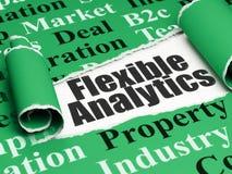 Concept d'affaires : Analytics flexible des textes noirs sous le morceau de papier déchiré Images libres de droits