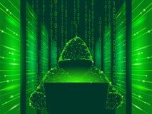 Concept d'affaires d'attaque de cyber de sécurité d'Internet bas poly Pirate informatique anonyme au danger bleu de finances d'or illustration stock