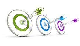 Concept d'affaires - atteindre des objectifs stratégiques multiples Images libres de droits