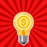 Concept d'affaires avec l'ampoule et les rayons rouges Photographie stock