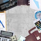 Concept d'affaires avec le bureau et le travail d'affaires Photographie stock